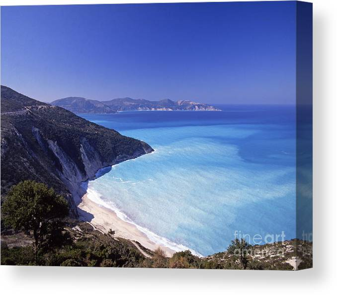 Greece Canvas Print featuring the photograph Kefallonia Blues by Steve Outram