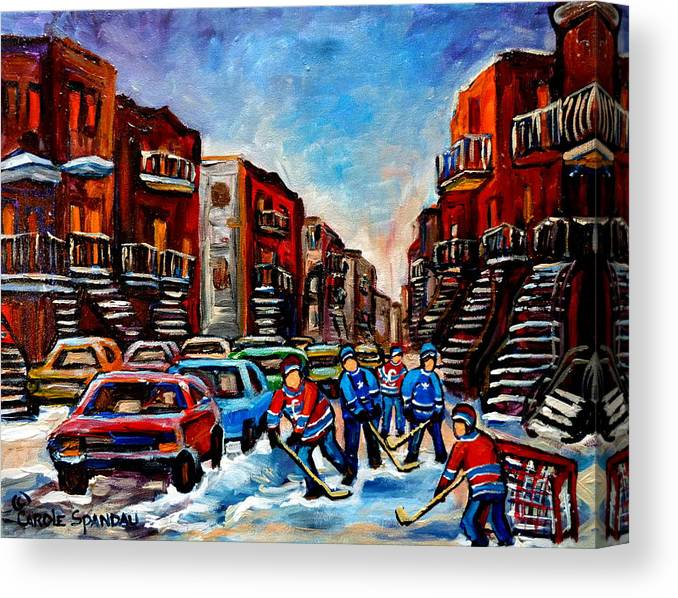 Montreal Canvas Print featuring the painting Late Afternoon Street Hockey by Carole Spandau