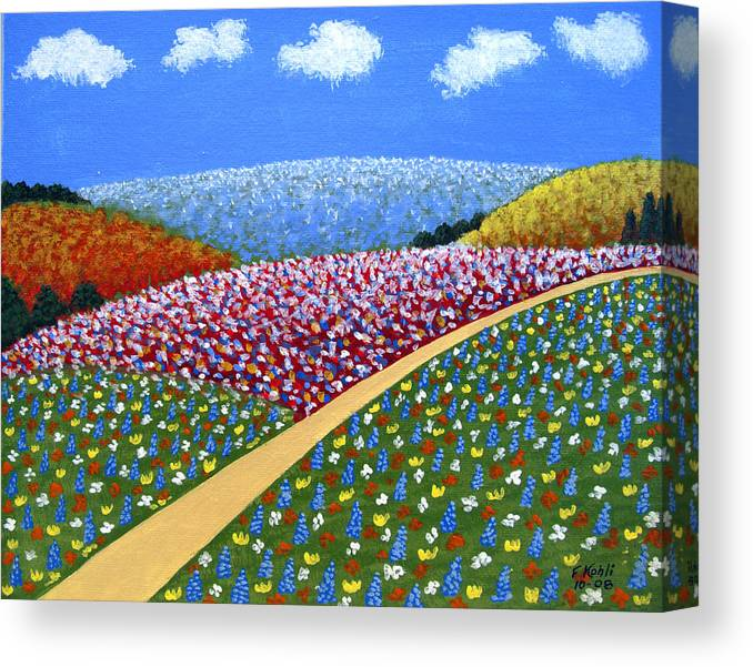 Landscape Paintings Canvas Print featuring the painting Hills Of Flowers by Frederic Kohli