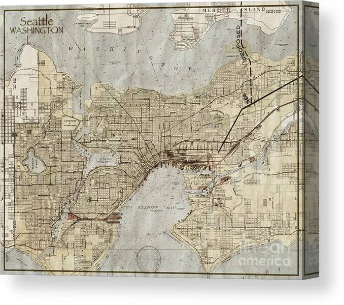 Seattle Washington Antique Vintage City Map Canvas Print Canvas