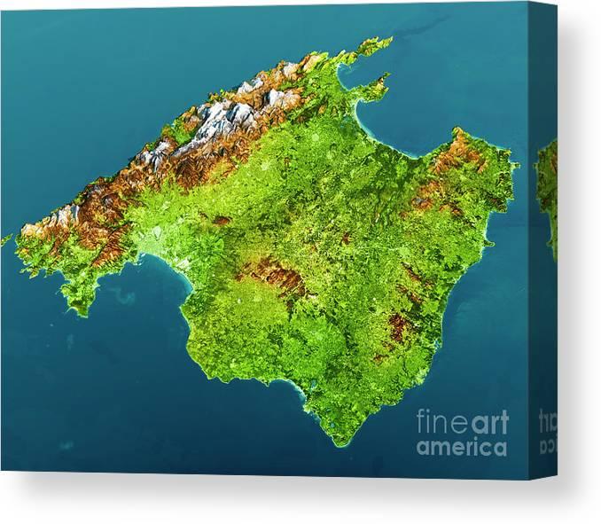Mallorca Island Topographic Map 3d View Color Canvas Print Canvas