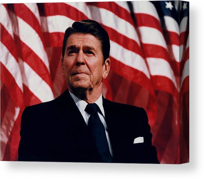 Ronald Reagan Canvas Print featuring the photograph President Ronald Reagan by War Is Hell Store