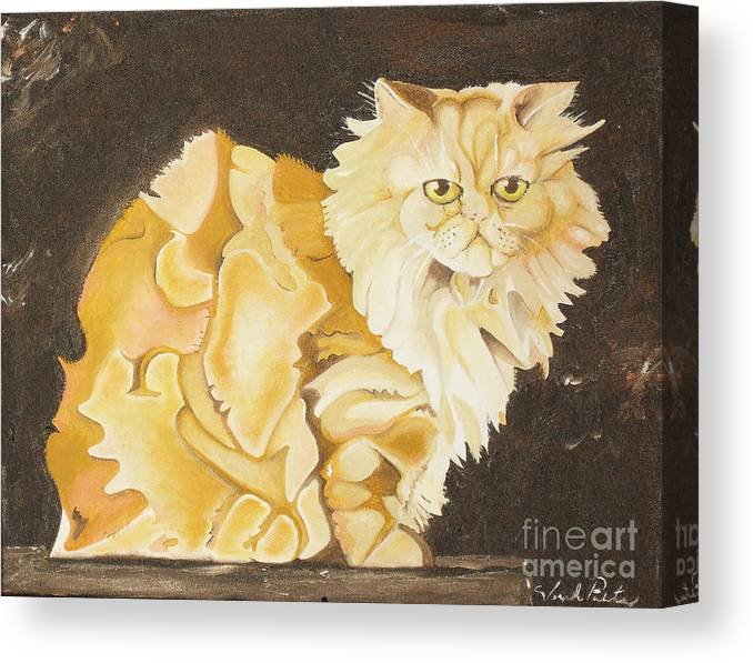 Cat Canvas Print featuring the painting Abstract Cat by Joseph Palotas