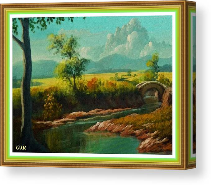 Riverside Canvas Print featuring the digital art Afternoon By The River With Peaceful Landscape L A S With Decorative Ornate Printed Frame. by Gert J Rheeders