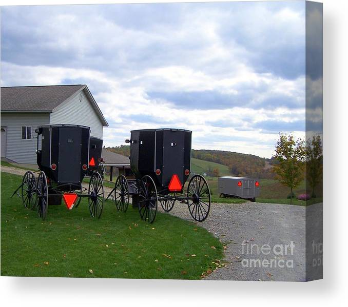 Amish Canvas Print featuring the photograph Amish Country Carts Autumn by Charlene Cox