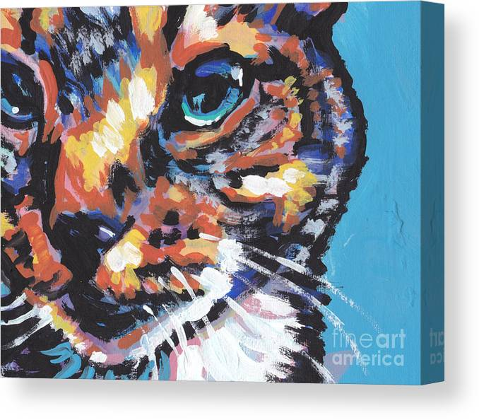 Cat Canvas Print featuring the painting Big Blue Eyes by Lea S