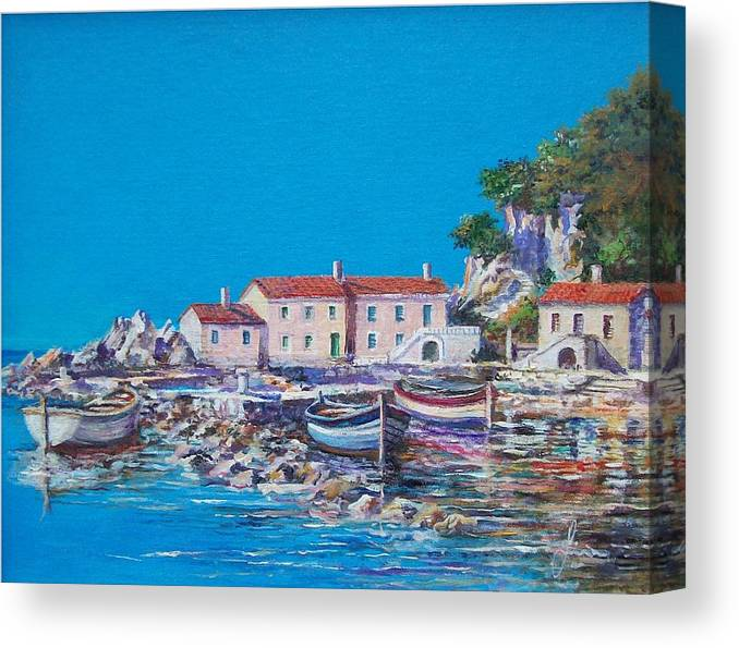 Original Painting Canvas Print featuring the painting Blue Bay by Sinisa Saratlic