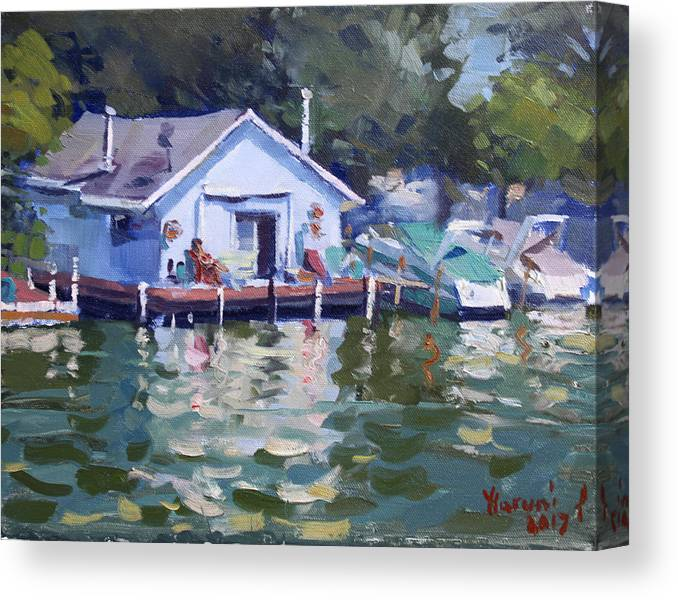 Boat House Canvas Print featuring the painting Boat House At Tonawanda Canal by Ylli Haruni