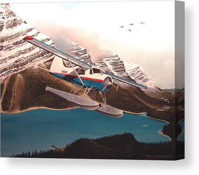 Aviation Canvas Print featuring the painting Bringing Home The Groceries by Marc Stewart