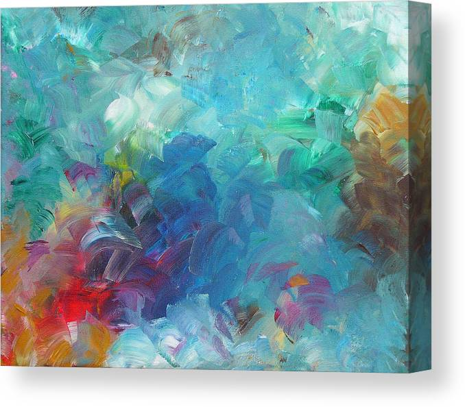 Abstract Canvas Print featuring the painting Busy Day by Peggy King