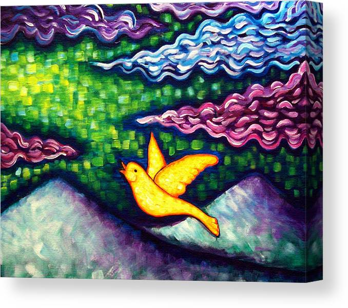 Bold Color Canvas Print featuring the painting Canary Escapes Coalmine by Brenda Higginson
