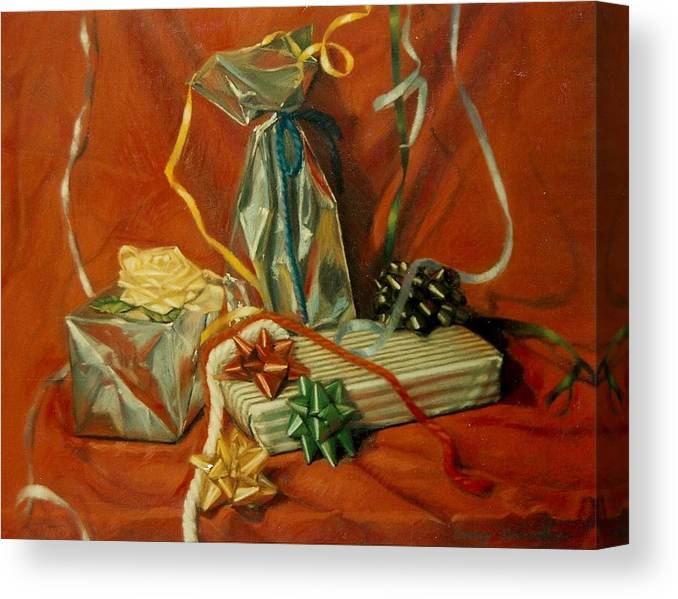 Red Canvas Print featuring the pastel Celebration by Constance Drescher