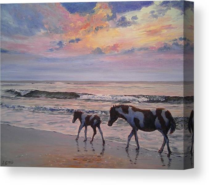 Horses Canvas Print featuring the painting Chincoteague Horses by Paul Emig