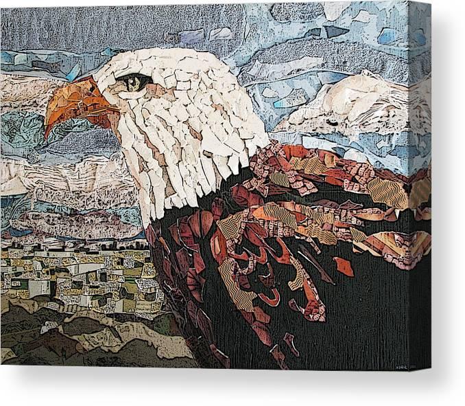 Eagle Canvas Print featuring the mixed media Consumer Eagle Veiw by Alicia LaRue