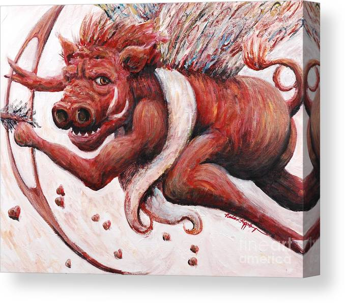 Pig Canvas Print featuring the painting Cupig by Nadine Rippelmeyer