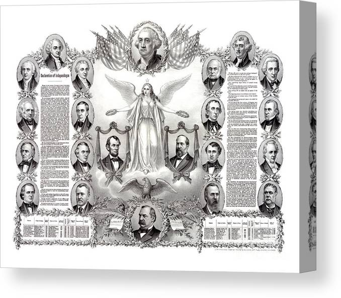 Declaration Of Independence Canvas Print featuring the drawing Declaration Of Independence 1884 Poster Restored by Vintage Treasure