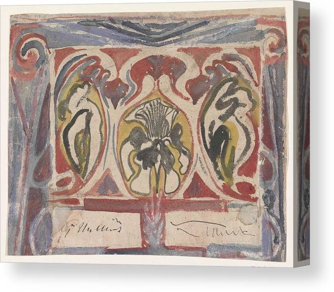 Pattern Canvas Print featuring the painting Decorative Design With Two Signatures, Carel Adolph Lion Cachet, 1874 - 1945 by Carel Adolph Lion Cachet