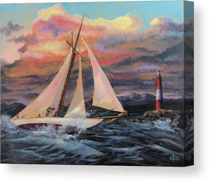 Sailing Canvas Print featuring the painting Desperate Reach by David Bader