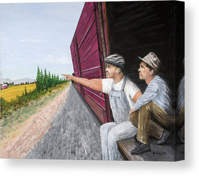 Steinbeck Canvas Print featuring the painting Do You Think They Have Rabbits by Kevin Daly