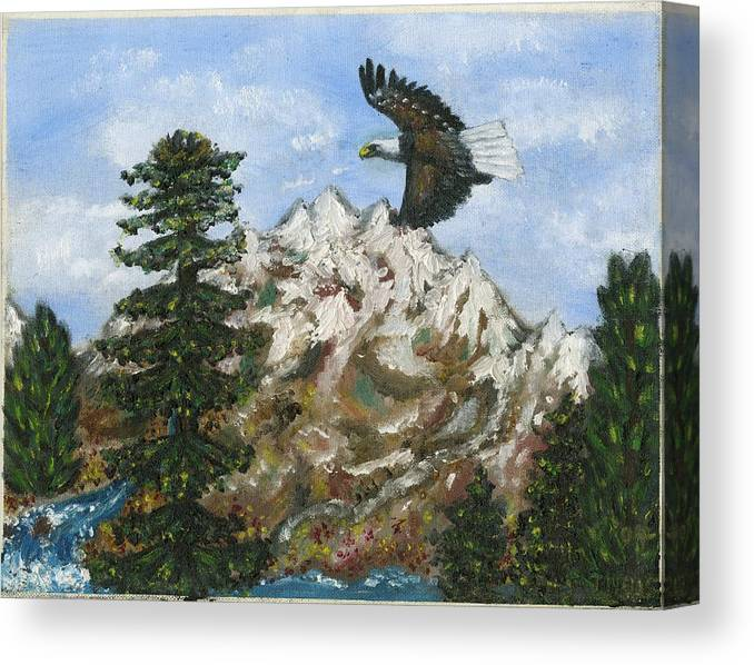 Eagle In Flight To Its Nest With Montana Mountains In Background Canvas Print featuring the painting Eagle To Eaglets In Nest by Tanna Lee M Wells