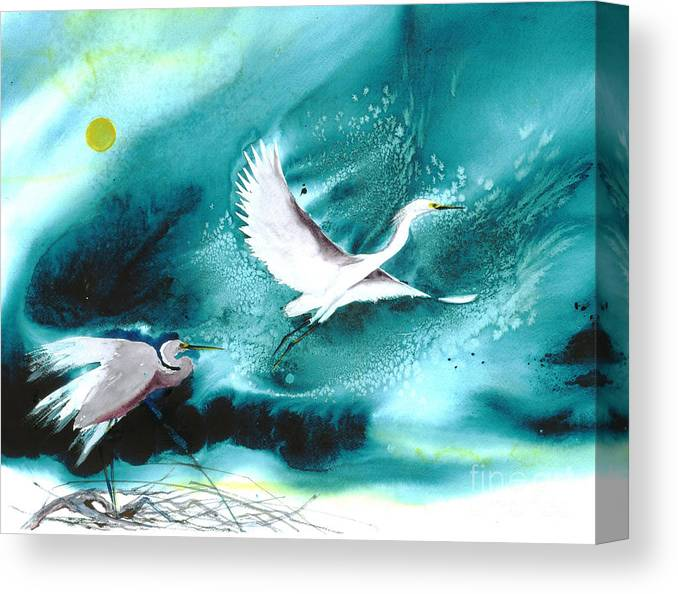 A Pair Of Egrets By The Water At Night- A Watercolor Painting Canvas Print featuring the painting Fairies by Mui-Joo Wee