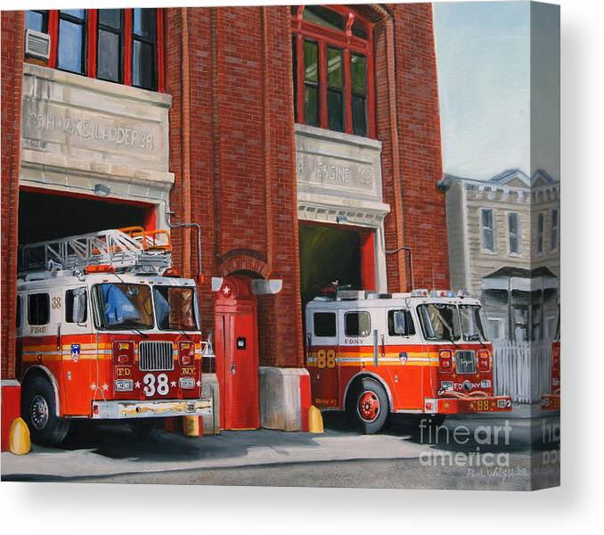 Fire House Canvas Print featuring the painting Fdny Engine 88 And Ladder 38 by Paul Walsh