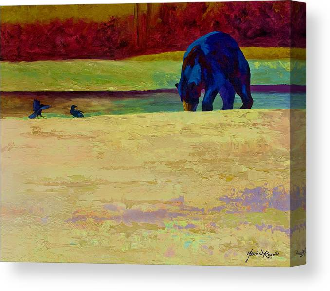 Bear Canvas Print featuring the painting Foraging At Neets Bay - Black Bear by Marion Rose