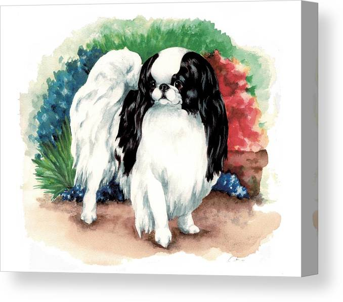 Japanese Chin Canvas Print featuring the painting Garden Chin by Kathleen Sepulveda