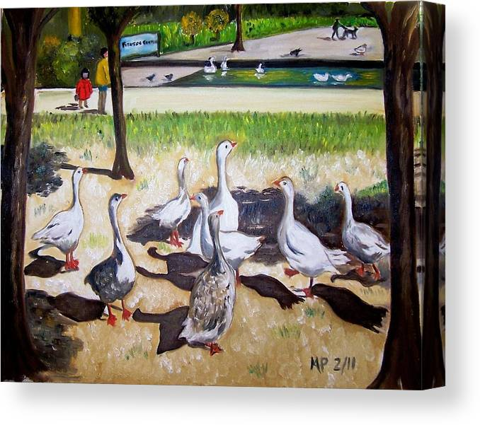 Landscape Canvas Print featuring the painting Geese In The Park by Madeleine Prochazka