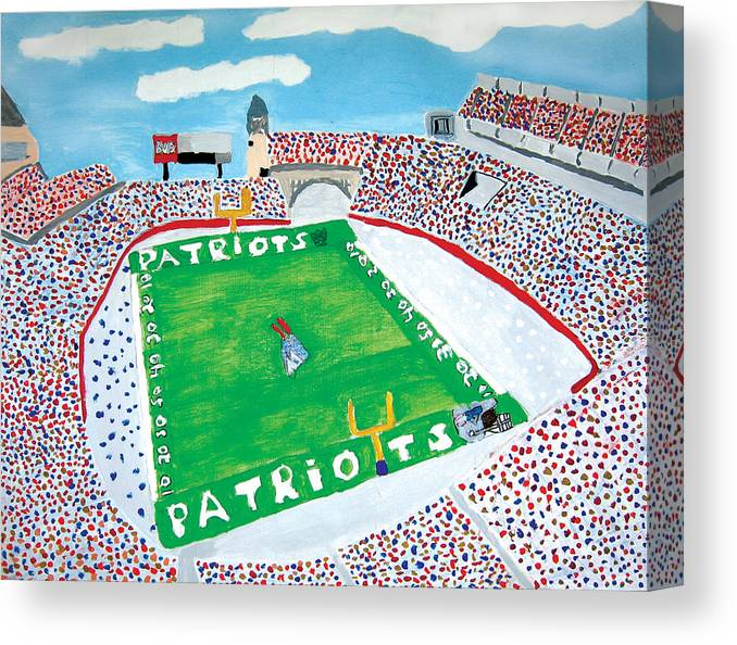Gillette Stadium Canvas Print featuring the painting Gillette Stadium by Jeff Caturano