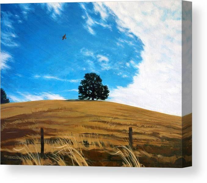 Golden Hills Canvas Print featuring the painting Golden Hills Summer Sky by Jill Iversen