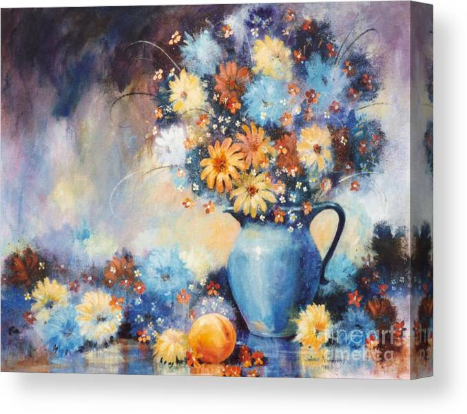 Blue Canvas Print featuring the painting Grandmas Blue Pitcher by JoAnne Corpany