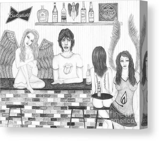 Wendy Wunstell Canvas Print featuring the drawing Honky Tonk Angels by Wendy Wunstell
