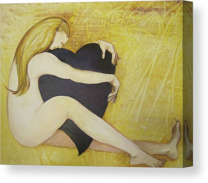 This Is A Figurative Painting Featuring A Nude Woman Hugging A Large Purple Heart. Rendered In Hues Of White Canvas Print featuring the painting In Love With Love by Georgia Annwell
