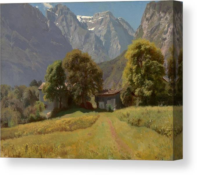 Johann Gottfried Steffan (1815 - 1905) Canvas Print featuring the painting In The Nesttal by MotionAge Designs