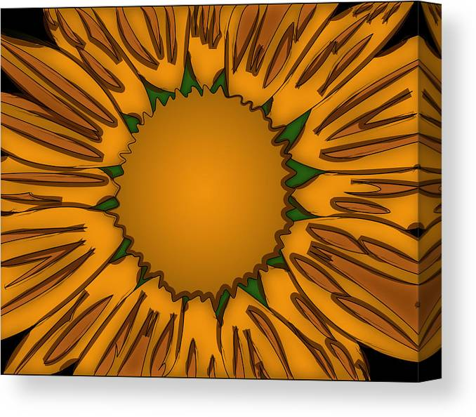 Ink Canvas Print featuring the painting Ink Sunflower by Christopher Sprinkle
