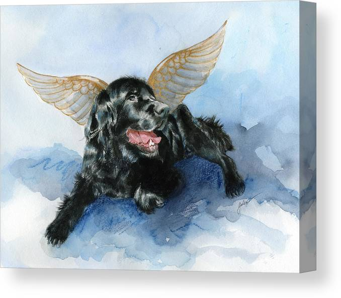 Dog Canvas Print featuring the painting Jake Angel by Galen Hazelhofer