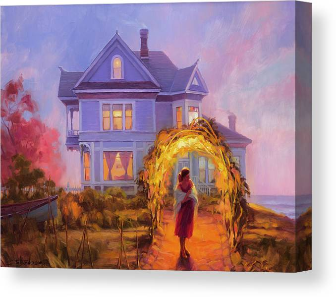 Woman Canvas Print featuring the painting Lady In Waiting by Steve Henderson
