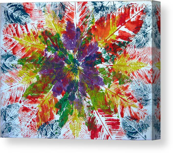 Leaves Canvas Print featuring the painting Leaves Alone by Libby Cagle