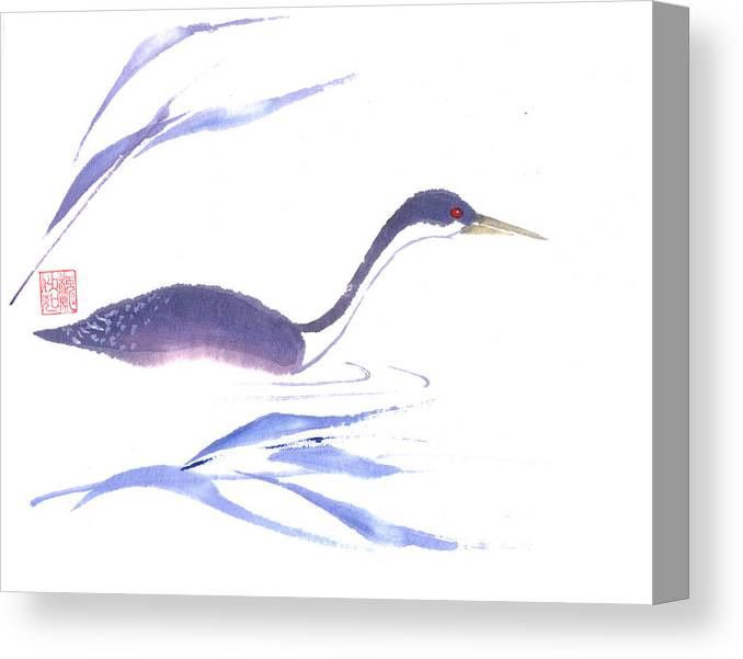 A Lone Loon Swimming Through The Tall Grass. This Is A Contemporary Chinese Ink And Color On Rice Paper Painting With Simple Zen Style Brush Strokes.  Canvas Print featuring the painting Loon by Mui-Joo Wee