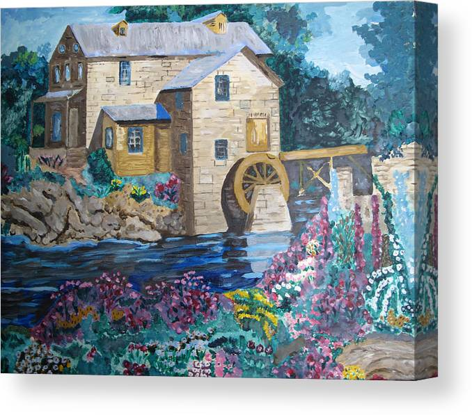 Stone Canvas Print featuring the painting Mill River by Keith Bagg