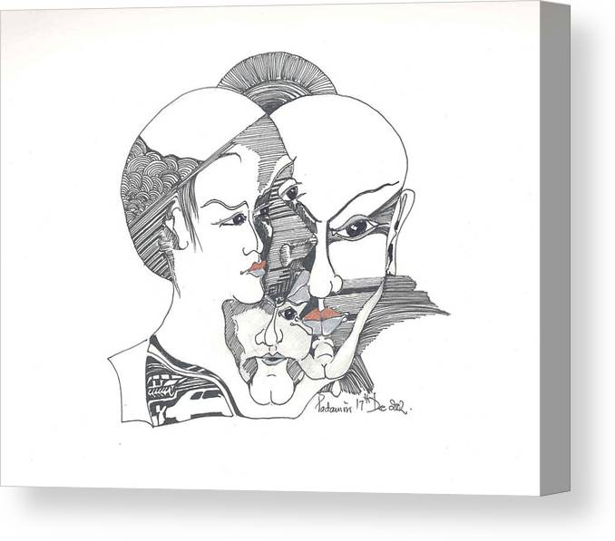 Human Shapes Canvas Print featuring the drawing Mixed Identities by Padamvir Singh