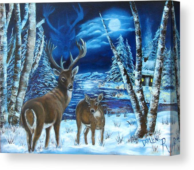 Deer Canvas Print featuring the painting Moonlight Walk by Darlene Green