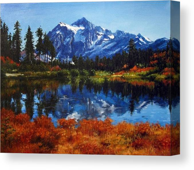 Colorful Canvas Print featuring the painting Mount Shuksan by Aziz Mohammed