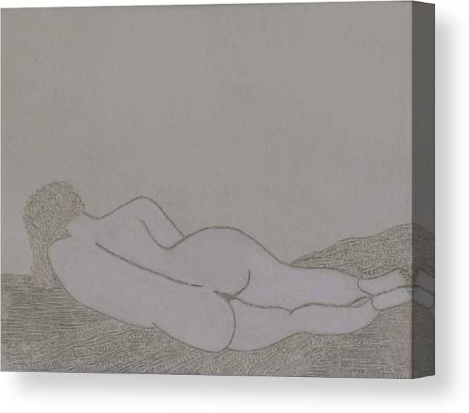Nude Study; Silver Point Canvas Print featuring the drawing No.322 by Vijayan Kannampilly