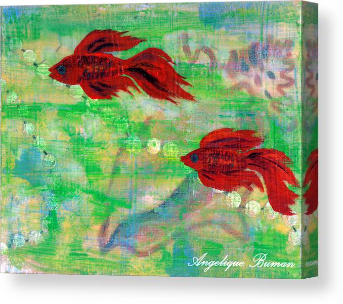 Animals Canvas Print featuring the painting Ocean Layers by Angelique Bowman