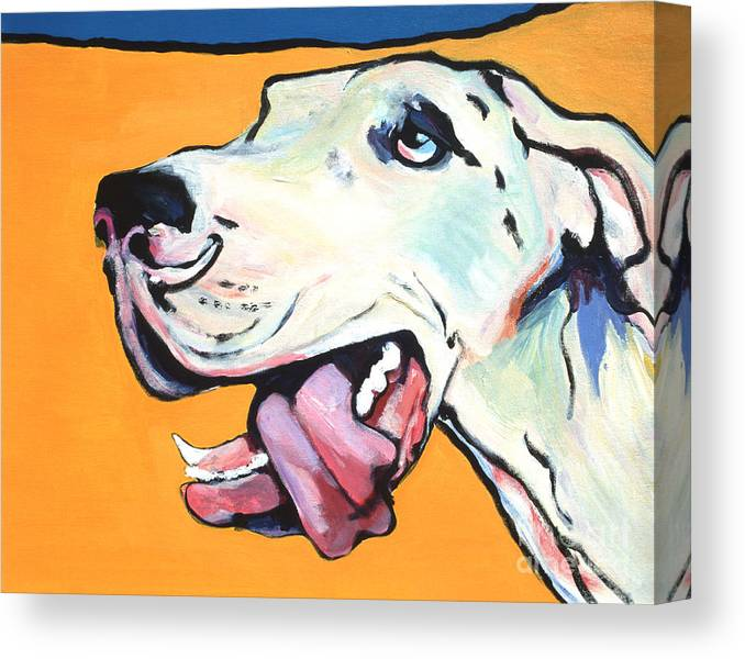 Commissioned Pet Portraits Available Canvas Print featuring the painting Ol' Blue Eye by Pat Saunders-White