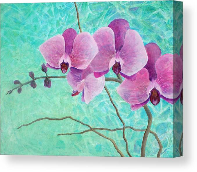 Flower Canvas Print featuring the painting Orchids In Pink by Arlissa Vaughn