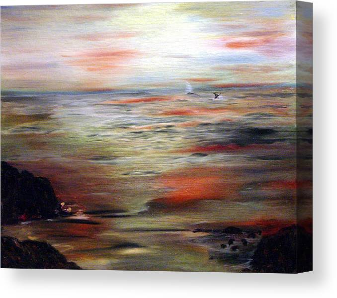 Seascape Canvas Print featuring the painting Out To Sea by Julie Lamons