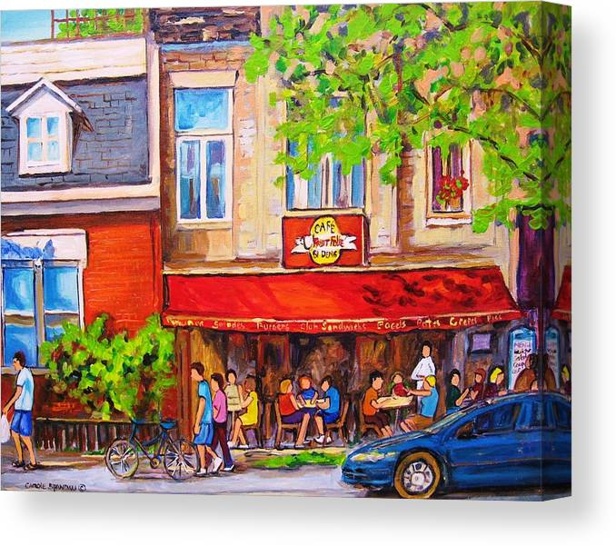 Montreal Canvas Print featuring the painting Outdoor Cafe by Carole Spandau